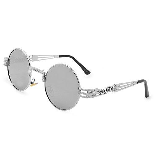 AMZTM Retro Steampunk Verspiegelt Sonnenbrille Klassischer Kreis Hippie Brille für Damen Herren Polarisierte Linse Runder Metallrahmen UV400 Schutz Alte Mode Brille (Silber Rahmen Silber Linse, 49)