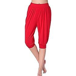 Pantalón para mujer estilo pirata, color rojo.