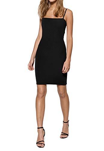 IVYREVEL Damen Square Neck Strap Dress Kleid, Schwarz (Black 001), 38 (Herstellergröße:M) Black Spaghetti Strap