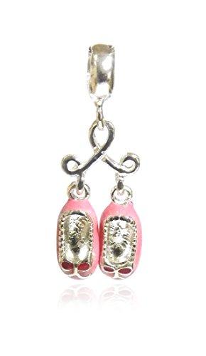 Schmuck Anhänger Charm Balettschuhe aus 925er Sterling Silber, 33 mm, Damen Kinder für Armband, Farbe:Rosa