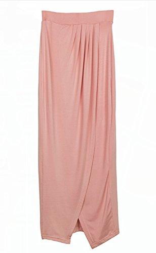Blansdi Damen Sommerkleid Elegant Spitze Lace Crop Tops + Faltenrock Split Maxikleid Zweiteiler Partykleid Strand Clubwear T-shirt Abendkleid Cocktail Chiffonkleid Rosa