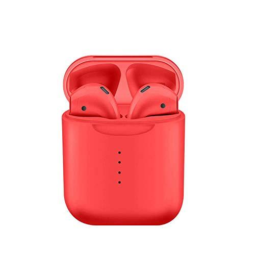 Color Doble Oreja Deporte Bluetooth Auricular Bluetooth 5.0 Ventana Táctil Inalámbrica con Compartimiento De Carga para Bluetooth Rojo