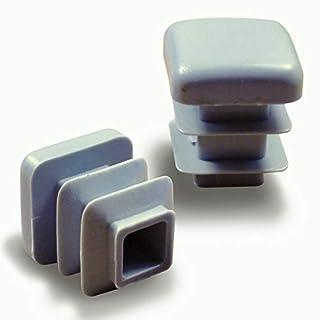 Ajile Kunststoff Fußkappen Lamellenstopfen Vierkantrohrstopfen Endkappen für Quadratröhre Büromöbel GRAU für 16 x 16 mm Rohr - 24 Stücke - EPC316x24-FBA
