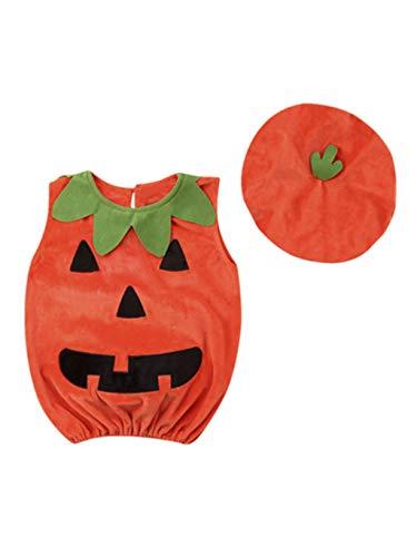 SUMTTER Halloween Baby Kostüm Neugeborenes Jungen Mädchen Kürbis Jumpsuits Ärmel Strampler + Hut Outfits Set (Einzigartige 2019 Kleinkind-halloween-kostüme)