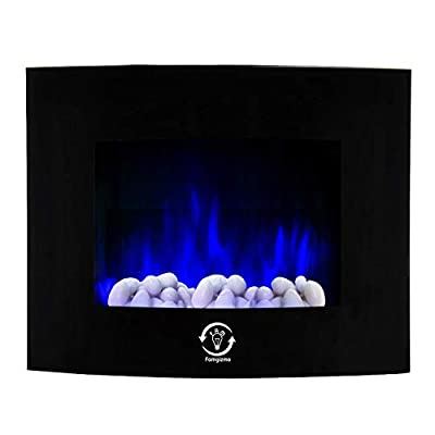 1.8kW Electric Fireplace Stove 3 Colours Back Lights & 7 Colours LED Flame Effect, Wall Mounted Tempered Glass Screen 2 Heat Settings Electric Fire with Remote Control