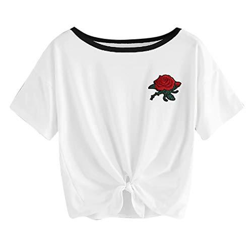 Andouy Damen Kurzes T-Shirt mit Kragen O-Ausschnitt Kurzarm Rose Besticktes T-Shirt Gr.36-42 Bluse(XL(42),Weiß) - Hospital Records-t-shirt