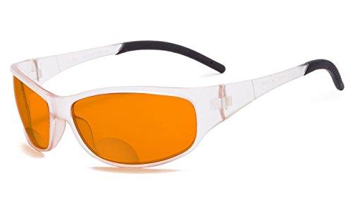 Eyekepper Blau Blockierung Amber Bifokal Brille für Schlaf-Nacht Bifocal Leser-Special Orange Getönte Gläser (Transparent, 1.25)