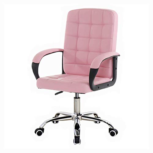 Deckchairs Computer Stuhl, High-Back ergonomischen Executive Bürostuhl, Verstellbare Swivel PU Schreibtischstuhl mit Chrom-Basis, Computer Stuhl mit Chrom Armlehnen, 150kg Tragkraft (Farbe : Pink)