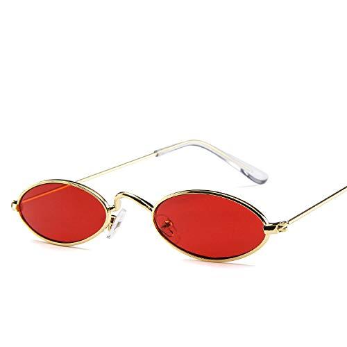 xinrongqu Gafas De Sol - Gafas De Sol De Metal Gafas Elípticas Gafas De Sol Con Montura Pequeña Gafas De Sol Con Forma De Ocular Para Hombres Y Mujeres Hojas De Oro Con Marco Rojo