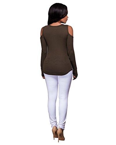 Femmes Sexy Strapless V-cou Bandage Croix à manches longues Chemise Slim Top Blouse Vert