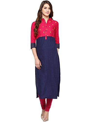 Amayra Women's Cotton Embroidered Kurti (X-Small,Multicolor)