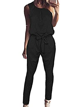 Gavemenget Mujer Verano Monos Moda Colores Lisos Larga Pantalones Jumpsuits Mamelucos con Cinturón Casual Cuello...