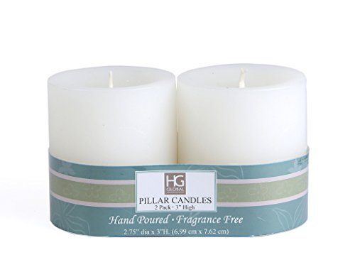 Set of 2 Hosley® Unscented 3inch Pillar Candles