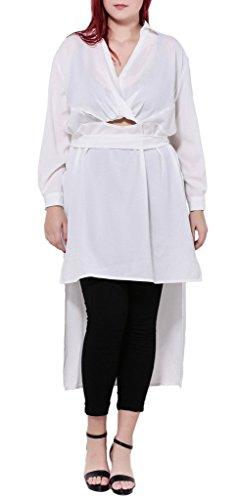 Smile YKK Femme Plus Size Robe Chiffon V Col Elégante Moulante Grosse Taille Blanc
