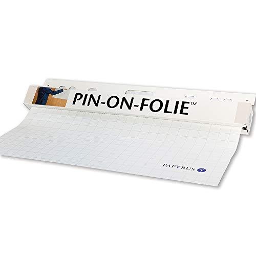Papyrus 88026278 Präsentationsfolie selbsthaftend, Flipchart-Folie: 1 Rolle = 25 Blatt, alle 80 cm perf., kariert, weiß