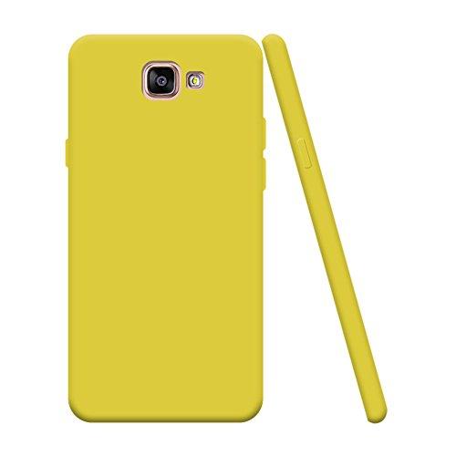 Silingsan Hülle zum Samsung Galaxy A5 2016 SM-A510F, Handyhülle Bumper Back Case Cover Silikon Case Candy Farben Hülle Ultradünnen Flexibel Weich Schutzhülle Kratzfeste Stoßfeste Tasche - Gelb