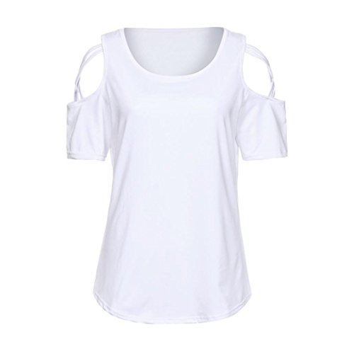 HOOUDO Slim vestWomen Fashion Summer Short Sleeve Strappy Cold Shoulder T-Shirt Tops Blouses