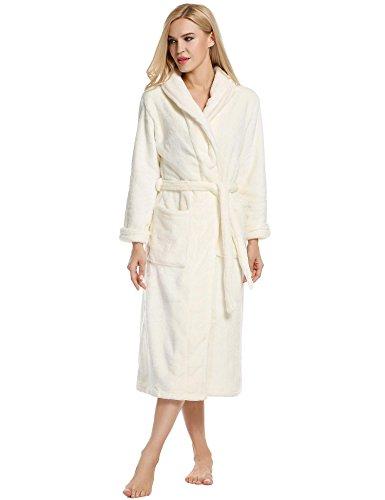 ZEARO Robe de Chambre Femme Longue Hiver Peignoir Femme Polaire Blanc