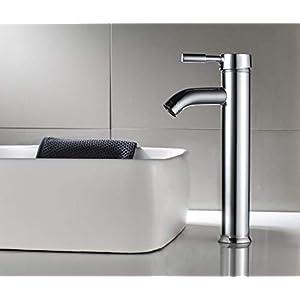 Aurho Grifo de lavabo y baño cromado con salida de agua en cascada Mononomando mezclador de agua cliente y fría