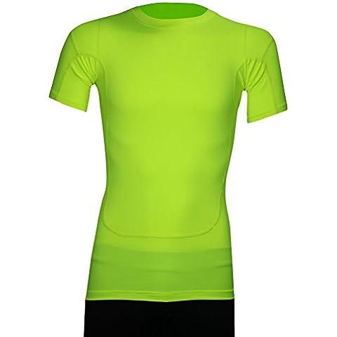 Haoyu Mens Lycra Mesh traspirante Crew-collo corto-manica aderente T-shirt Athletic