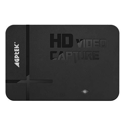 AGPTEK Game Capture HD - Capturadora para Grabar, Compartir y Reproducir partidas de Xbox/Playstation (H.264, USB 2.0, HDMI/YPBPR, Mic-In)