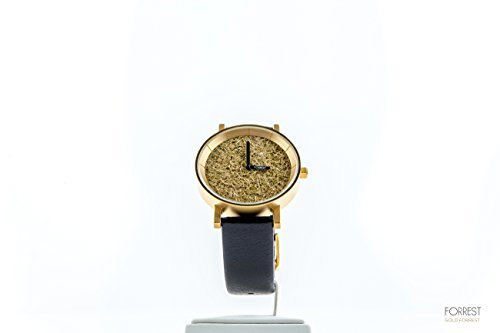 Forrest Elegant Genuine Leather Stainless Steel Wrist Watch, Black and  Gold, 9 1