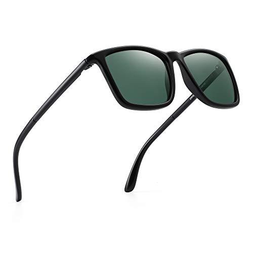 JIM HALO Polarisiert Fahren Sonnenbrille Retro Platz UV Schutz Klassisch Sonne Brille Herren(Schwarz/Polarisiertes Grün)