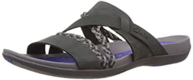 Clarks Women's Black Leather Flip-Flops and House Slippers - 4 UK