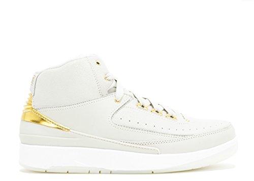 Nike Air Jordan 2 Retro Q54 Bg, espadrilles de basket-ball homme Blanco (Light Bone / Metallic Gold-White)