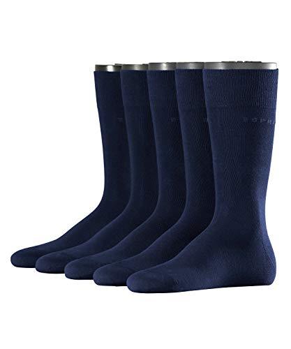 ESPRIT Herren Socken Uni 5-Pack, Baumwollmischung, 5 Paar, Blau (Marine 6120), Größe: 40-46