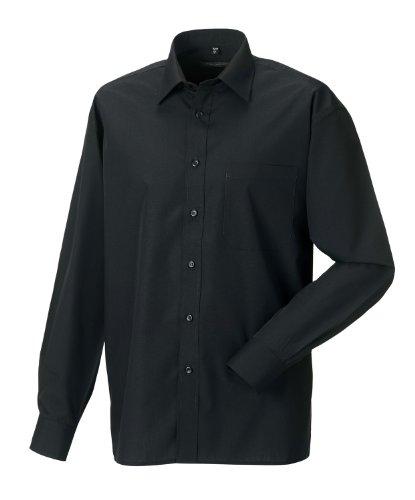 Z934 Langarm Popeline-Hemd Oberhemd Herren Hemd Russell XL / 43/44,Black (Herren Hemden-popeline)