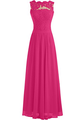 Toscana vestito lungo, elegante, senza cuciture, in Chiffon - abito da sposa, da sera, per damigella d'onore Fuchsie