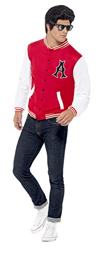 Für College Kostüm - Smiffy's 43705 - 50 College Jock Letterman Jacket, Rot (Red), Gr. L