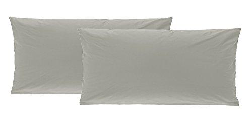 2er Pack Baumwolle Renforcé Kissenbezug, Kissenbezüge, Kissenhüllen 40x80 cm in 8 modernen Farben Grau