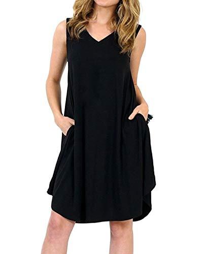 Kidsform Damen Sommerkleider Strandkleid Tunika Knielang Kurz Großen Größen Boho Kurze Kleider Mit Taschen X-Schwarz EU 44/Etikettgröße 2XL - Asymmetrische Tasche