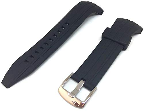 Seiko Kinetic SSKA445 Black Rubber Watch Band SNAD35 Strap 30mm