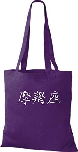 ShirtInStyle Stoffbeutel Chinesische Schriftzeichen Steinbock Baumwolltasche Beutel, diverse Farbe purple