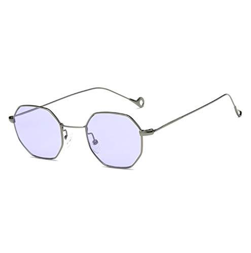 Topgrowth donna uomo moda metal irregolarità occhiali da sole (viola)