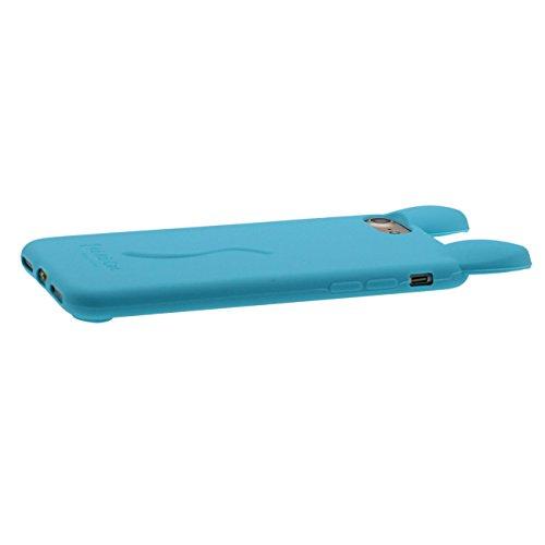 Pour iPhone 7 3D Charmant Chat Forme Coiffant Mode Silicone Gel TPU Doux Slim Ultra Fine Coque Case Etui de Protection pour Apple iPhone 7 4.7 inch ( Blanc ) avec 1 Silicone Titulaire Kickstand bleu