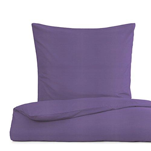 Lumaland Premium Bettwäsche Everyday Ganzjahres Bettbezug YKK Reißverschluss 135x200cm Kissenbezug 80x80cm Smoke Violett