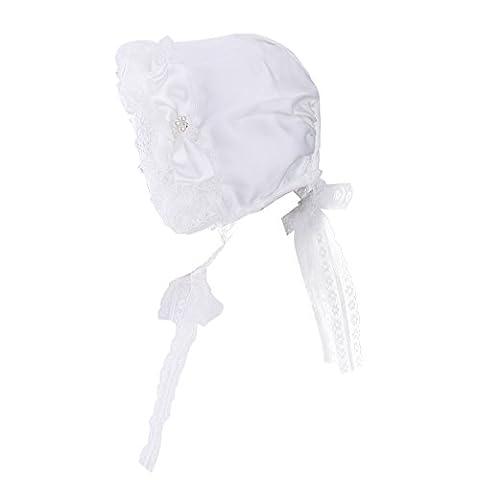 TiaoBug Baby Girls Kids Lace Flower Christening Bonnet Cap Toddlers Princess Sun Hat White 6-12