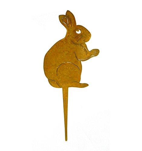 Metallmichl Edelrost Hase als Stecker / Hasenstecker Lindi groß Osterhase als Gartenstecker oder Blumenstecker aus rost Metall