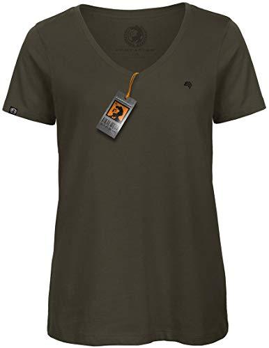 COMPANIEER BAC TW045 Damen V-Neck-Kragen-Ausschnitt Biobaumwolle T-Shirt Grün Olive Army Organic Cotton Größe XL- OHNE Brustlogo - Jersey Double V-neck