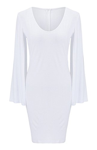 Bigood Robe de Soirée Femme Coton Sexy Robes Col Rond Dos Zippé Cocktail Cérémonie Elégant Blanc
