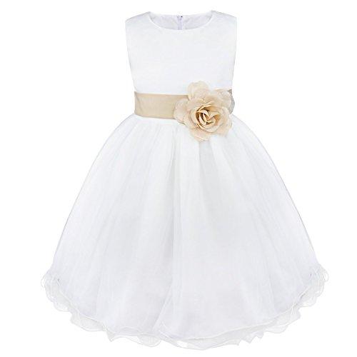 IEFIEL Vestido Blanco de Fiesta Boda Bautizo para Niñas Vestido de Princesa Niña Vestido de Flores Cumpleaños Tutú Princesa Elegante 2 Años-14 Años Beige Oscuro 14 Años