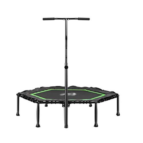 Sports Fitness Trampolin Indoor Ø 125 cm, Hexagon, höhenverstellbarer Haltegriff,Trampolin für Kinder & Erwachsene, Trampolin für Zuhause