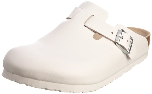 Birkenstock Boston, Sabots mixte adulte Blanc (White Leather)