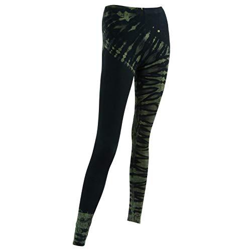 Freak Scene Leggings - Batik - Muster 15 - schwarz - grün-olivgrün -