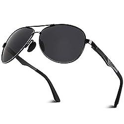 CGID Polarisierte UV400 Schutz Prämie Al MG Metall Rahmen Pilot Sonnenbrille Pilotenbrille Für Herren GA61, 1 Black Grey,