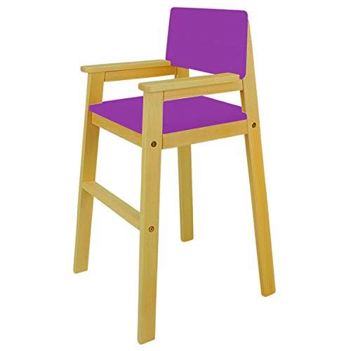 MADYES Kinderstuhl Hochstuhl Massivholz Buche Farbe NUSS/Lila Treppenhochstuhl Buche für Esstisch, Kinderhochstuhl für Kinder, stabil & pflegeleicht viele Farben möglich